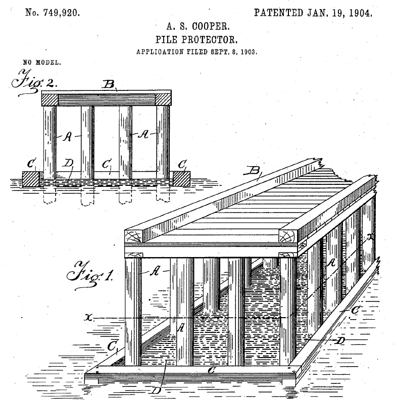 """A clip taken from the original patent of AS Cooper's """"Pile Protector"""""""