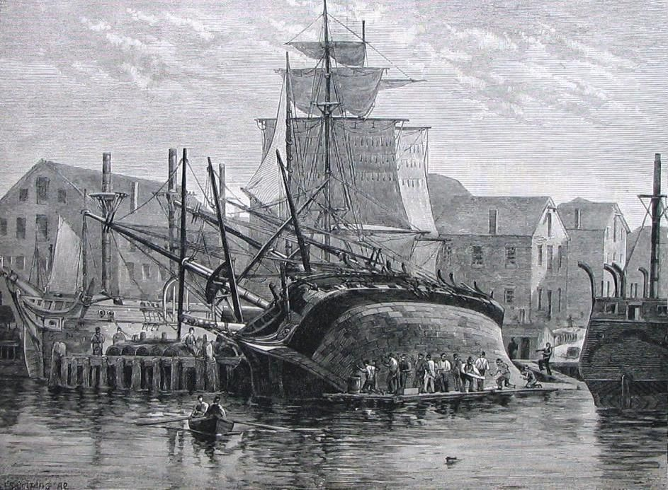 An old engraving. In it, there is a ship on its side at the docks and many men repairing the ship's hull.